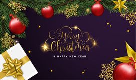 Christmas and Happy New Year card of gifts and ornaments. Merry Christmas and Happy New Year luxury greeting card, realistic red bauble ornaments with gift box vector illustration