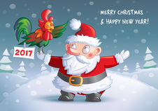 2017 Christmas and Happy New Year card. Greetings card shows Santa meets symbol of 2017 year Royalty Free Stock Photography