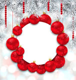 Christmas and Happy New Year Card with Red Balls Stock Photography