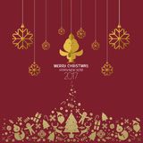 Christmas and Happy new year 2017 card red gold.  Royalty Free Stock Photos