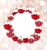Christmas and Happy New Year Card with Red Snowing Balls. Illustration Christmas and Happy New Year Card with Red Snowing Balls on Glowing Background - Vector stock illustration