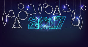 Christmas and Happy New Year 2017 card with shiny balls. Christmas and Happy New Year 2017 card with abstract shiny silver christmas balls and place for your Royalty Free Stock Images