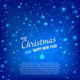 Christmas and Happy New Year Card with snowfall Royalty Free Stock Photos