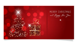 Christmas and Happy New Year card with tree and gift Royalty Free Stock Photos