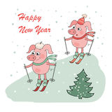 Christmas and Happy New year card with two small cartoon little pigs skie. R in vector. Hand Drawn holiday illustration isolated on background. Cute crafted Royalty Free Stock Image