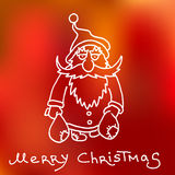 Christmas and happy new 2016 year cartoon outline postcard with Santa Claus Stock Photo