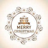 Christmas and Happy New Year celebrations concept with stylish t. Happy New Year 2015 and Merry Christmas celebrations with stylish text on floral decorated Royalty Free Stock Photos