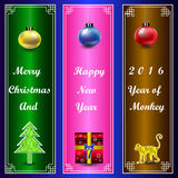 Christmas and happy new year 2016 on Chinese frame horozontal  Royalty Free Stock Image