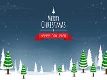 Christmas and happy new year,christmas tree big moon vector. Christmas and happy new year,tree big moon vector stock illustration