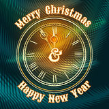 Christmas and happy new year clock Stock Photography