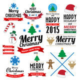 Christmas and Happy new year collection of calligraphic and typo Royalty Free Stock Photo