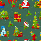 Christmas and Happy New Year colored icons Stock Image