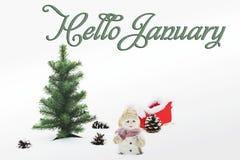 Hello January. Happy New Year. Christmas composition stock photo