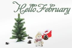 Hello, February. Happy New Year. Christmas composition royalty free stock photography