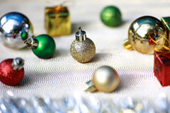 Christmas and Happy New Year decoration. Christmas and Happy New Year decoration with multi-color ball Stock Images