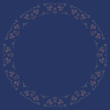 Christmas and Happy New Year decoration symbol concept background. Repeating golden bells and stars silhouette pattern on the blue background. Border frame with Royalty Free Stock Photos
