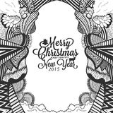 Christmas and happy new year doodle sketch with typography Royalty Free Stock Photo