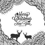 Christmas and happy new year doodle sketch with typography Royalty Free Stock Image