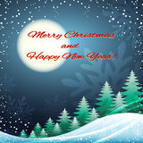 Christmas and Happy New Year festive illustration. Chrismas and New Year festive illstration with pine trees and full moon stock illustration