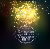 Christmas and happy new year 2016 with firework.  royalty free illustration