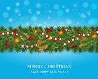 Christmas and happy New Year garland and border of realistic looking Christmas tree branches decorated with Berries, stars and Gin vector illustration