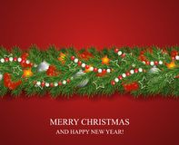 Christmas and happy New Year garland and border of Christmas tree branches decorated with holly Berries and silver baubles, stars stock illustration