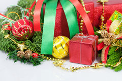 Christmas and Happy New Year gift boxes decorations Royalty Free Stock Photography