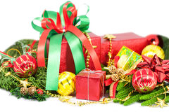 Christmas and Happy New Year gift boxes decorations Royalty Free Stock Images