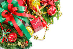 Christmas and Happy New Year gift boxes decorations Stock Photography