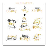 Christmas and Happy New Year gold quotes. Christmas and New Year phrases and quotes - Merry Christmas, happy holidays, seasons greetings, let it snow stock illustration