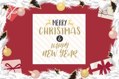 Christmas and happy new year gold and rose gold decorated. Christmas and happy new year with gold and rose gold decorated ball gift of pine branches in Royalty Free Stock Image