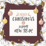 Christmas and happy new year gold and rose gold decorated. Christmas and happy new year with gold and rose gold decorated ball gift of pine branches in Stock Photo