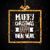 Christmas and Happy new year golden banner Royalty Free Stock Photography