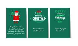 Christmas and Happy New Year green greeting cards with lettering set, templates can be used winter for invitation, card stock illustration