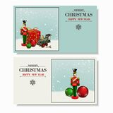 Christmas and a Happy New Year greeting card. Stock Image