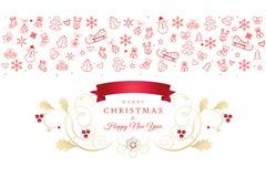 Christmas greeting card Xmas icons and symbols. Christmas and Happy New Year greeting card with christmas symbols ornament, reindeer, snowflakes, santa, snowman Stock Photos
