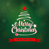 Christmas and happy new year greeting card. Merry Christmas lettering, vector illustration. Vector illustration Royalty Free Stock Image