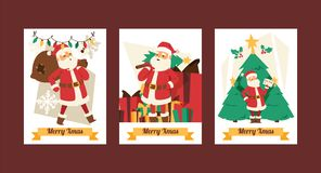 Christmas 2019 Happy New Year greeting card Santa Claus vector background banner holidays winter xmas cartoon. Congratulation New Year poster or web banner vector illustration