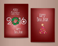 Christmas and Happy New Year greeting cards set. Stock Photo