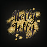 Christmas and Happy New Year greeting holidays hand lettering collage. Decorative illustration with golden glitter texture. Vector elements for your design on royalty free illustration