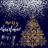 Christmas and Happy New Year 2017 handwritten lettering on blue background. Gold Christmas tree from snowflakes. Christmas and Happy New Year 2017 handwritten Stock Photos
