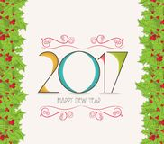 Christmas and happy new year 2017 holly border.  stock illustration