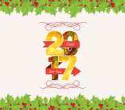 Christmas and happy new year 2017 holly top and bottom border.  stock illustration