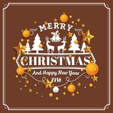 Christmas and Happy New Year Background. Christmas and Happy New Year illustration with typography and golden stars background. Holiday design concept for Royalty Free Stock Photo