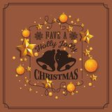 Christmas and Happy New Year Background. Christmas and Happy New Year illustration with typography and golden stars background. Holiday design concept for Royalty Free Stock Photos