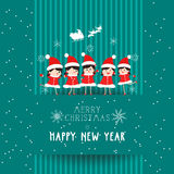 Christmas and happy new year with kids card Royalty Free Stock Photography