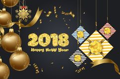 Christmas and happy new year luxury design with festive objects on red background. Calligraphy inscription Merry Christmas.  Royalty Free Stock Photography