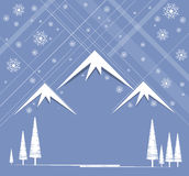 Christmas and happy new year with mountain and sky. Christmas and happy new year background with mountain and sky snowing Royalty Free Stock Images