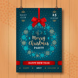 Christmas and Happy New Year night party poster. Xmas invitation Royalty Free Stock Images