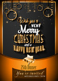2016 Christmas and Happy New Year Party flyer Royalty Free Stock Photography